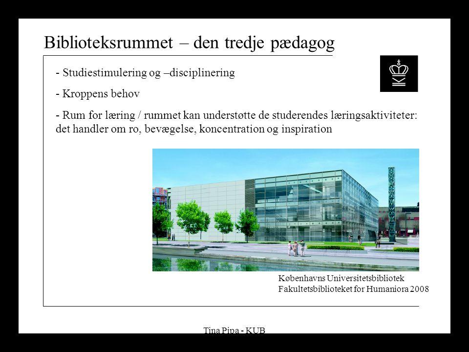 Tina Pipa - KUB Biblioteksrummet – den tredje pædagog - Studiestimulering og –disciplinering - Kroppens behov - Rum for læring / rummet kan understøtte de studerendes læringsaktiviteter: det handler om ro, bevægelse, koncentration og inspiration Københavns Universitetsbibliotek Fakultetsbiblioteket for Humaniora 2008