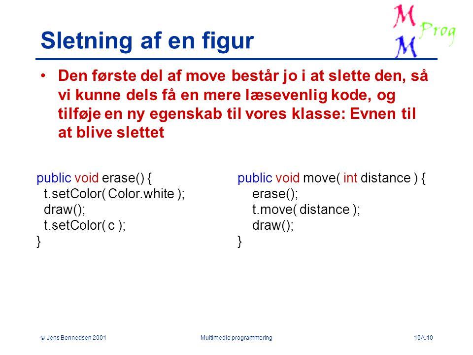  Jens Bennedsen 2001Multimedie programmering10A.10 Sletning af en figur Den første del af move består jo i at slette den, så vi kunne dels få en mere læsevenlig kode, og tilføje en ny egenskab til vores klasse: Evnen til at blive slettet public void erase() { t.setColor( Color.white ); draw(); t.setColor( c ); } public void move( int distance ) { erase(); t.move( distance ); draw(); }