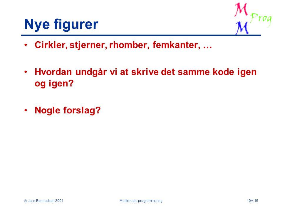  Jens Bennedsen 2001Multimedie programmering10A.15 Nye figurer Cirkler, stjerner, rhomber, femkanter, … Hvordan undgår vi at skrive det samme kode igen og igen.