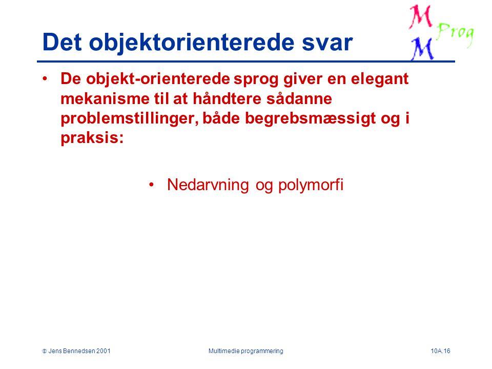  Jens Bennedsen 2001Multimedie programmering10A.16 Det objektorienterede svar De objekt-orienterede sprog giver en elegant mekanisme til at håndtere sådanne problemstillinger, både begrebsmæssigt og i praksis: Nedarvning og polymorfi