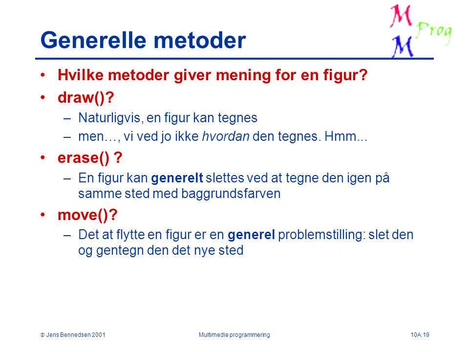  Jens Bennedsen 2001Multimedie programmering10A.19 Generelle metoder Hvilke metoder giver mening for en figur.