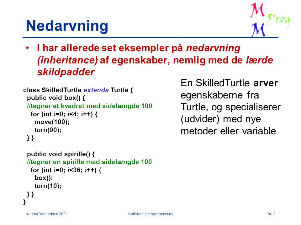  Jens Bennedsen 2001Multimedie programmering10A.2 Nedarvning I har allerede set eksempler på nedarvning (inheritance) af egenskaber, nemlig med de lærde skildpadder class SkilledTurtle extends Turtle { public void box() { //tegner et kvadrat med sidelængde 100 for (int i=0; i<4; i++) { move(100); turn(90); } } public void spirille() { //tegner en spirille med sidelængde 100 for (int i=0; i<36; i++) { box(); turn(10); } } } En SkilledTurtle arver egenskaberne fra Turtle, og specialiserer (udvider) med nye metoder eller variable