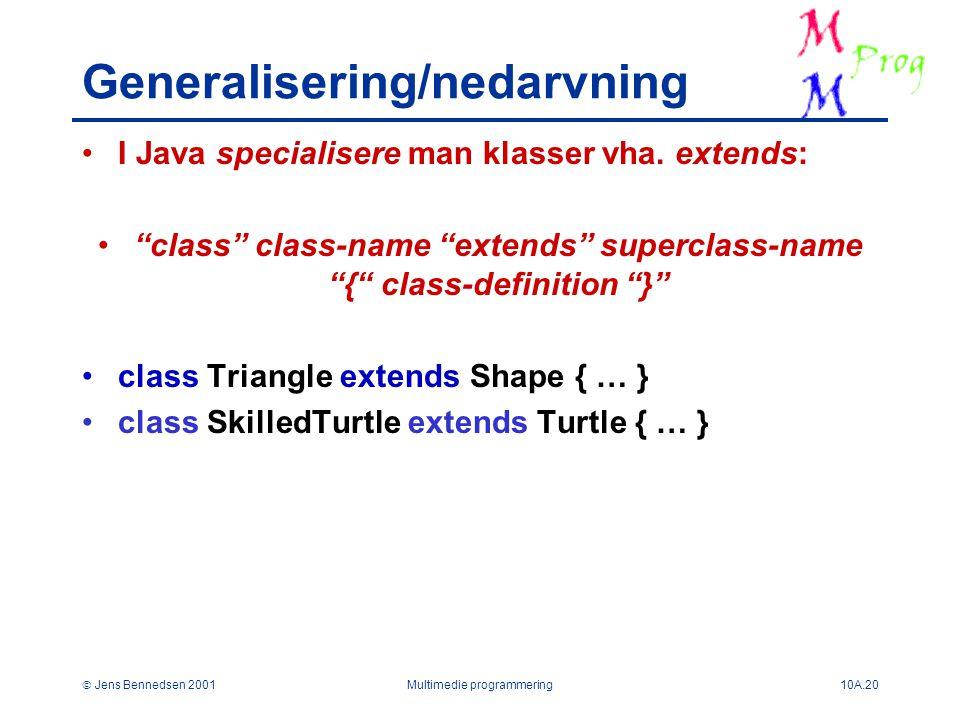  Jens Bennedsen 2001Multimedie programmering10A.20 Generalisering/nedarvning I Java specialisere man klasser vha.