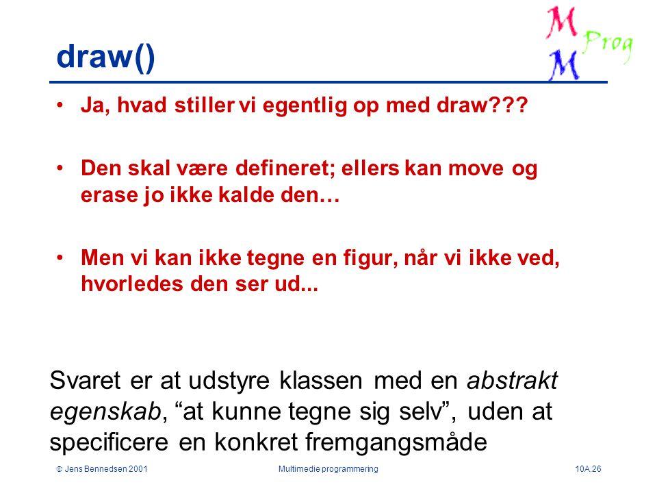  Jens Bennedsen 2001Multimedie programmering10A.26 draw() Ja, hvad stiller vi egentlig op med draw .