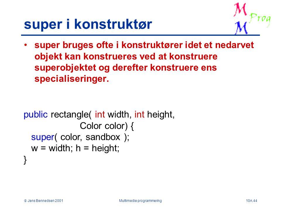  Jens Bennedsen 2001Multimedie programmering10A.44 super i konstruktør super bruges ofte i konstruktører idet et nedarvet objekt kan konstrueres ved at konstruere superobjektet og derefter konstruere ens specialiseringer.