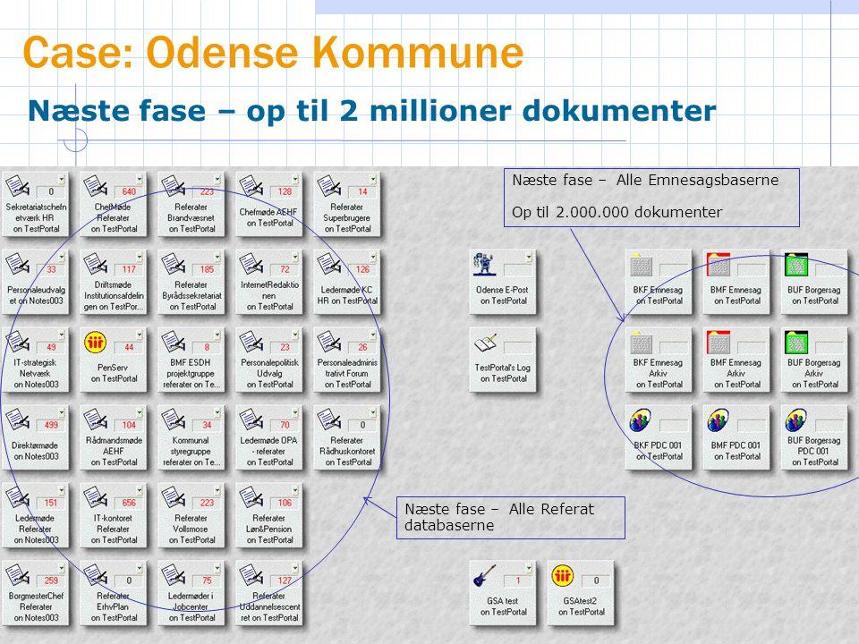 Case: Odense Kommune Næste fase – op til 2 millioner dokumenter Næste fase – Alle Emnesagsbaserne Op til 2.000.000 dokumenter Næste fase – Alle Referat databaserne