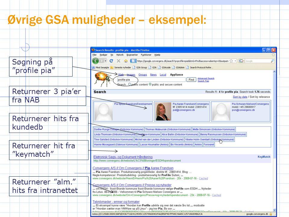 Øvrige GSA muligheder – eksempel: Søgning på profile pia Returnerer 3 pia'er fra NAB Returnerer hits fra kundedb Returnerer hit fra keymatch Returnerer alm. hits fra intranettet