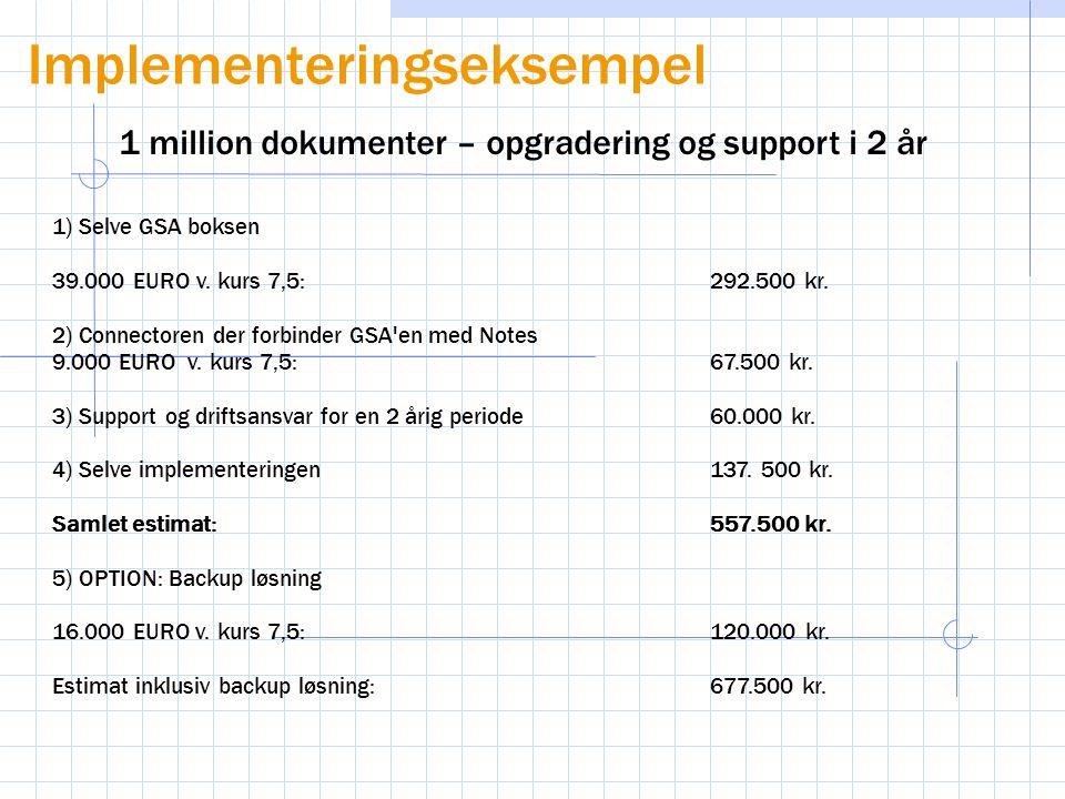 1) Selve GSA boksen 39.000 EURO v. kurs 7,5:292.500 kr.