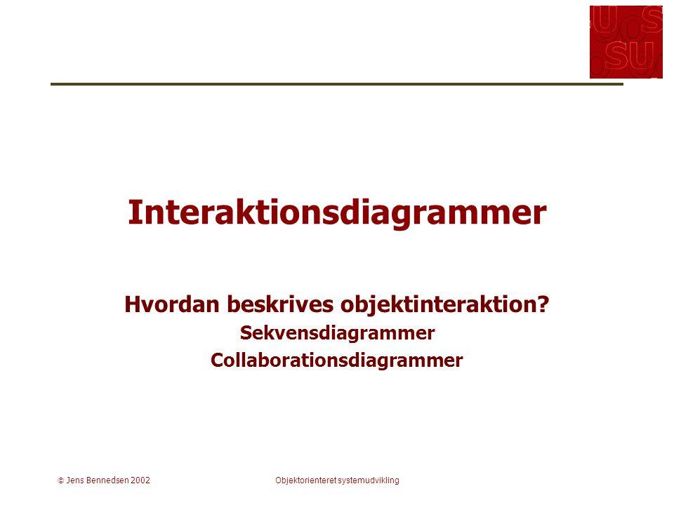  Jens Bennedsen 2002Objektorienteret systemudvikling Interaktionsdiagrammer Hvordan beskrives objektinteraktion.
