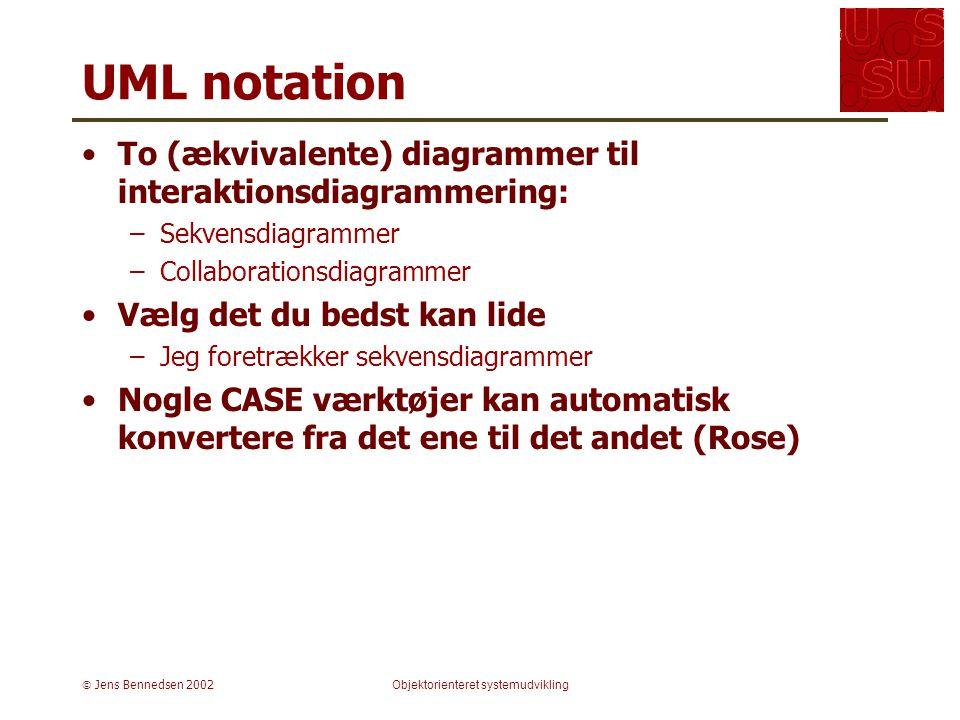  Jens Bennedsen 2002Objektorienteret systemudvikling UML notation To (ækvivalente) diagrammer til interaktionsdiagrammering: –Sekvensdiagrammer –Collaborationsdiagrammer Vælg det du bedst kan lide –Jeg foretrækker sekvensdiagrammer Nogle CASE værktøjer kan automatisk konvertere fra det ene til det andet (Rose)