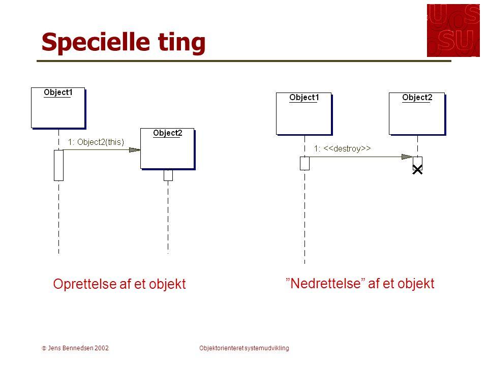  Jens Bennedsen 2002Objektorienteret systemudvikling Specielle ting Oprettelse af et objekt Nedrettelse af et objekt