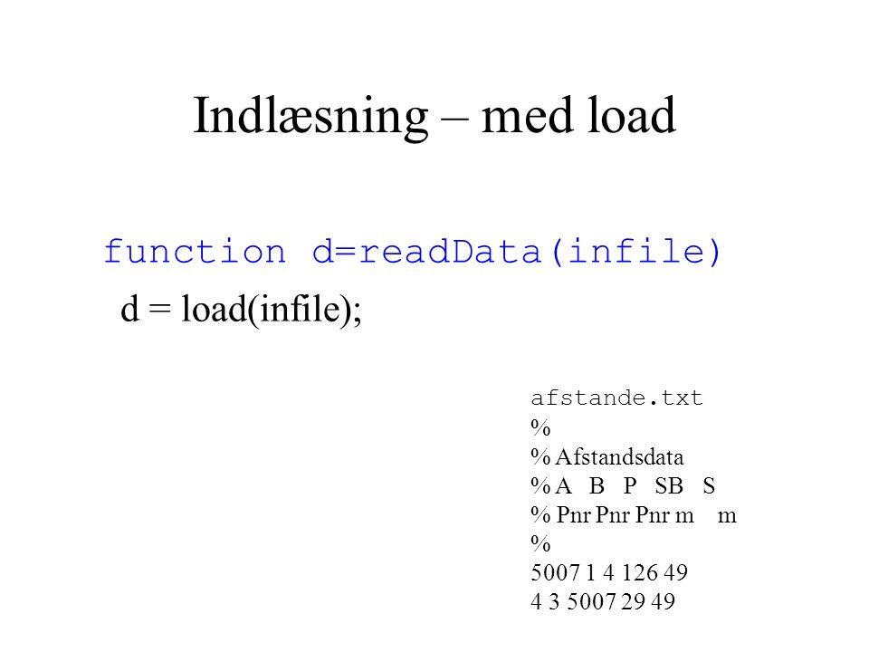 Indlæsning – med load function d=readData(infile) d = load(infile); afstande.txt % % Afstandsdata % A B P SB S % Pnr Pnr Pnr m m % 5007 1 4 126 49 4 3 5007 29 49