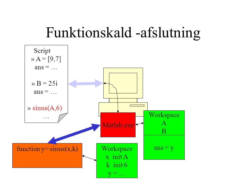 Funktionskald -afslutning Script » A = [9,7] ans = … » B = 25i ans = … » sinus(A,6) … Matlab.exe Workspace A B function y= sinus(x,k) Workspace x init A k init 6 y = … ans = y