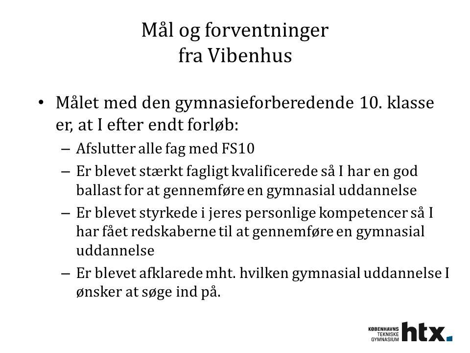 Mål og forventninger fra Vibenhus Målet med den gymnasieforberedende 10.