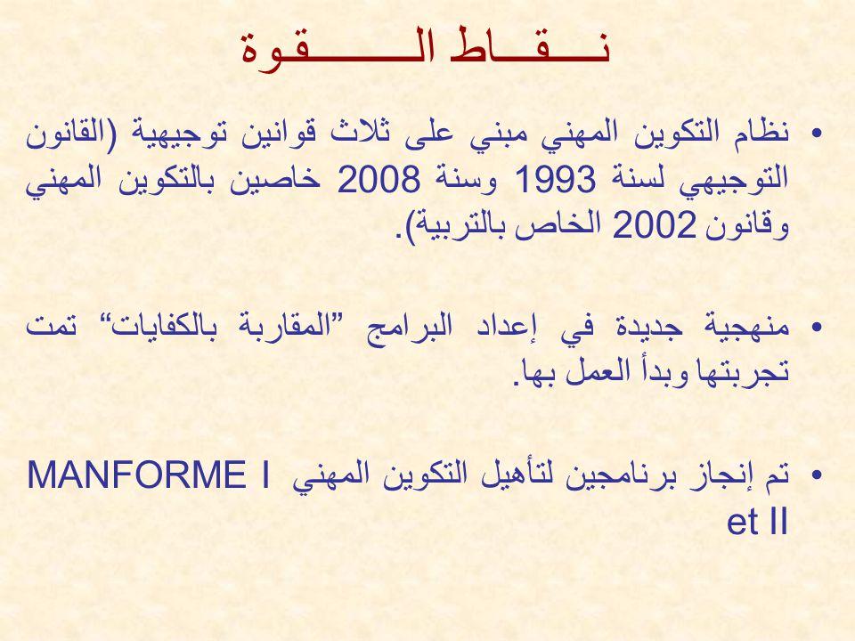 نــــقـــاط الـــــــــقـوة نظام التكوين المهني مبني على ثلاث قوانين توجيهية (القانون التوجيهي لسنة 1993 وسنة 2008 خاصين بالتكوين المهني وقانون 2002 الخاص بالتربية).