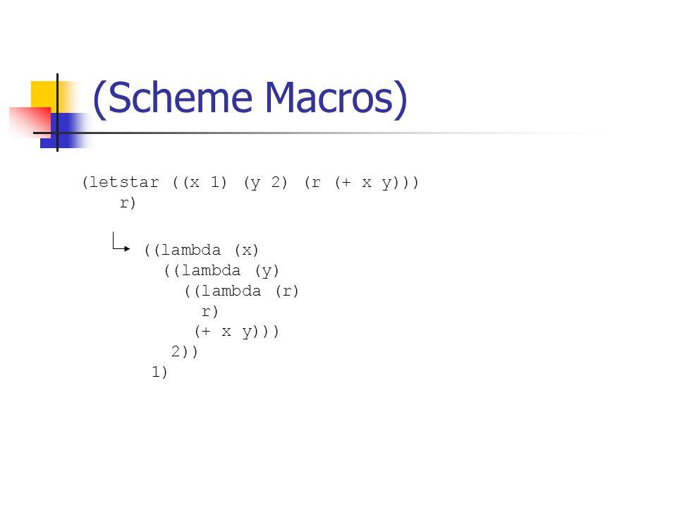 (Scheme Macros) (letstar ((x 1) (y 2) (r (+ x y))) r) ((lambda (x) ((lambda (y) ((lambda (r) r) (+ x y))) 2)) 1)