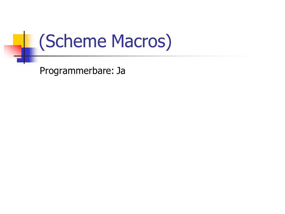 Programmerbare: Ja (Scheme Macros)