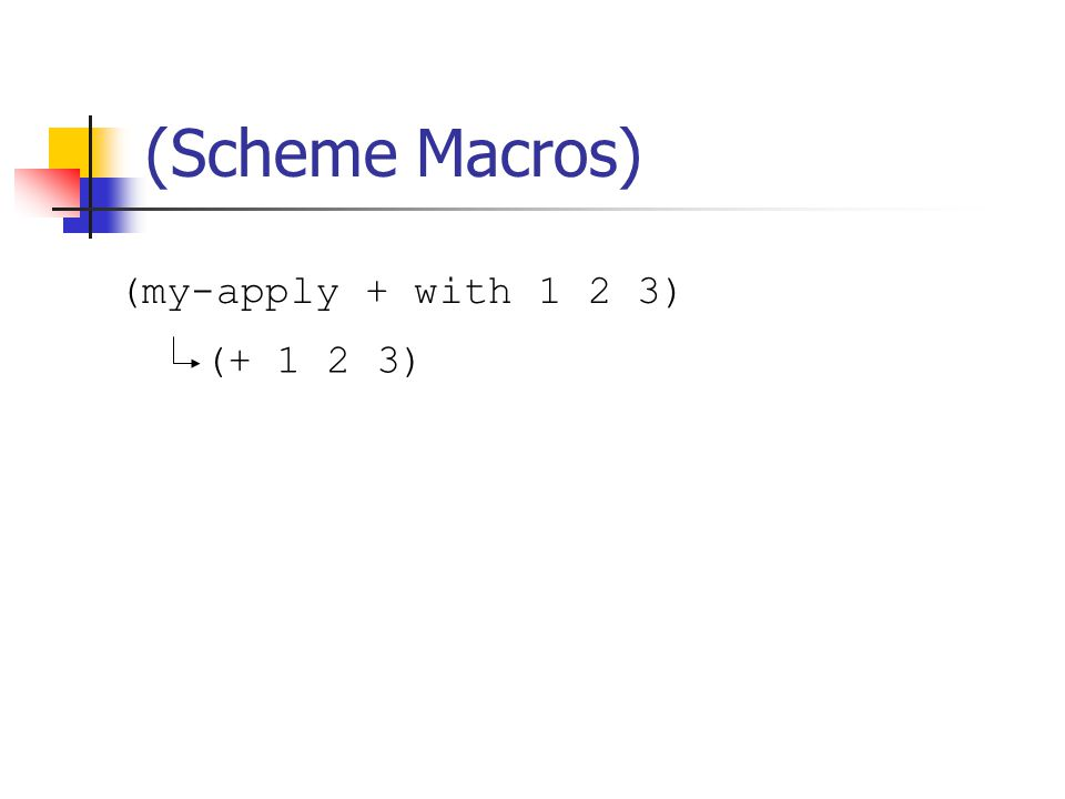 (my-apply + with 1 2 3) (Scheme Macros) (+ 1 2 3)