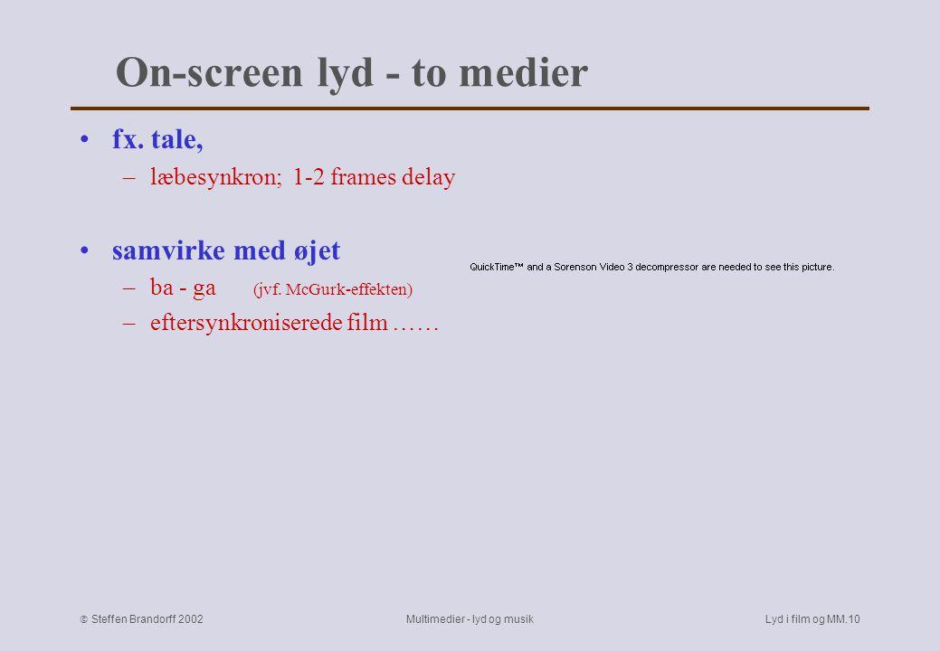  Steffen Brandorff 2002 Multimedier - lyd og musikLyd i film og MM.9 Diegetisk lyd –Er på skærmen Forgrundslyd ≈ figur.