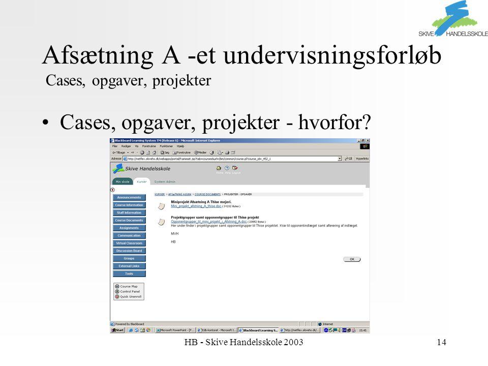 HB - Skive Handelsskole 200314 Afsætning A -et undervisningsforløb Cases, opgaver, projekter Cases, opgaver, projekter - hvorfor