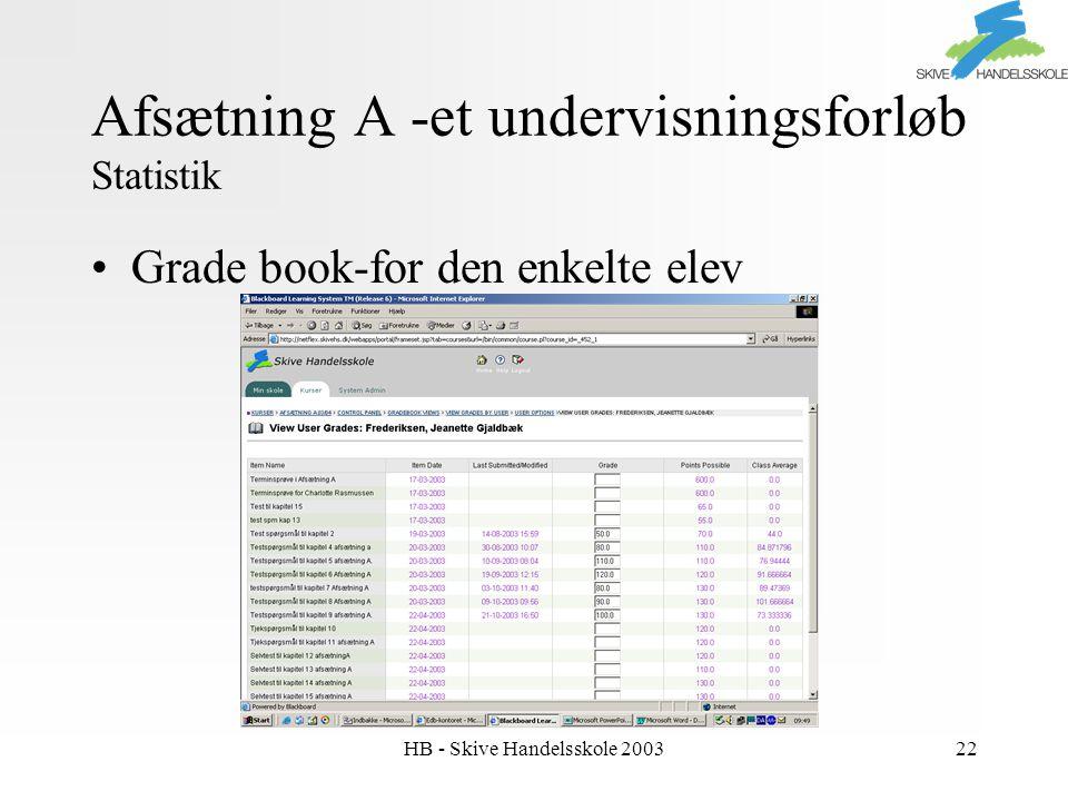 HB - Skive Handelsskole 200322 Afsætning A -et undervisningsforløb Statistik Grade book-for den enkelte elev