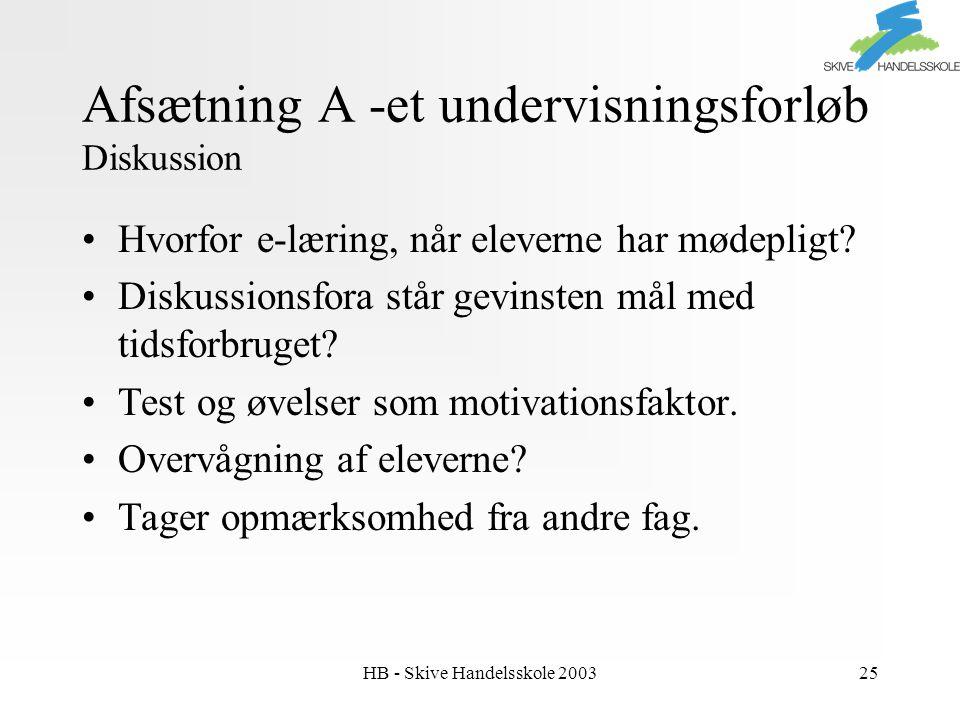 HB - Skive Handelsskole 200325 Afsætning A -et undervisningsforløb Diskussion Hvorfor e-læring, når eleverne har mødepligt.