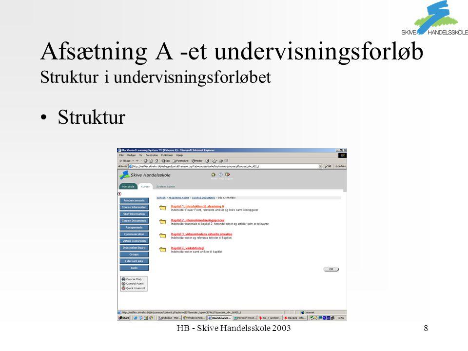 HB - Skive Handelsskole 20038 Afsætning A -et undervisningsforløb Struktur i undervisningsforløbet Struktur