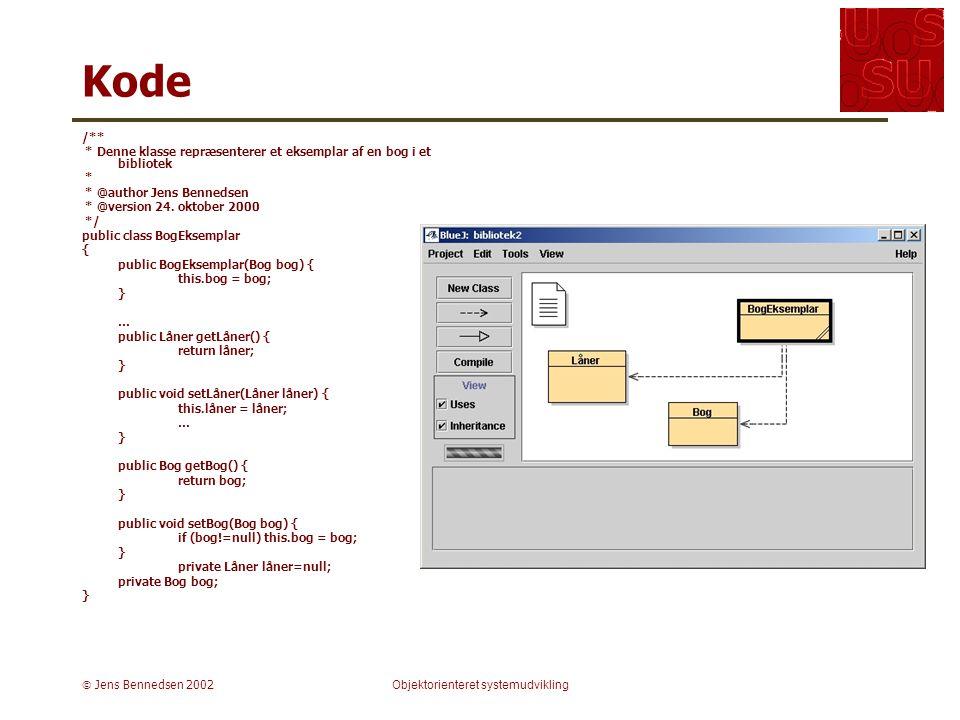  Jens Bennedsen 2002Objektorienteret systemudvikling Kode /** * Denne klasse repræsenterer et eksemplar af en bog i et bibliotek * * @author Jens Bennedsen * @version 24.
