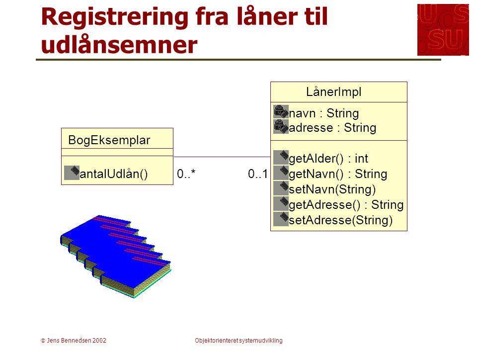  Jens Bennedsen 2002Objektorienteret systemudvikling Registrering fra låner til udlånsemner LånerImpl navn : String adresse : String getAlder() : int getNavn() : String setNavn(String) getAdresse() : String setAdresse(String) 0..*0..1 BogEksemplar antalUdlån()