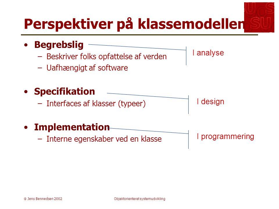  Jens Bennedsen 2002Objektorienteret systemudvikling Perspektiver på klassemodellen Begrebslig –Beskriver folks opfattelse af verden –Uafhængigt af software Specifikation –Interfaces af klasser (typeer) Implementation –Interne egenskaber ved en klasse I design I programmering I analyse