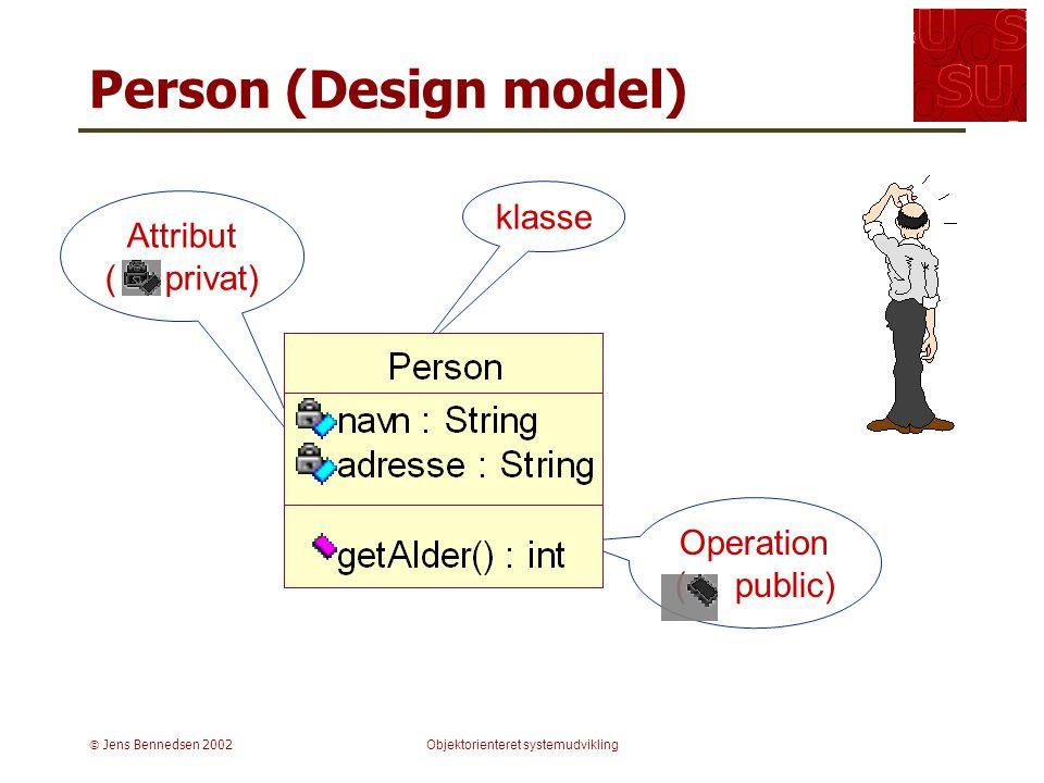  Jens Bennedsen 2002Objektorienteret systemudvikling Operation ( public) Person (Design model) klasse Attribut ( privat)