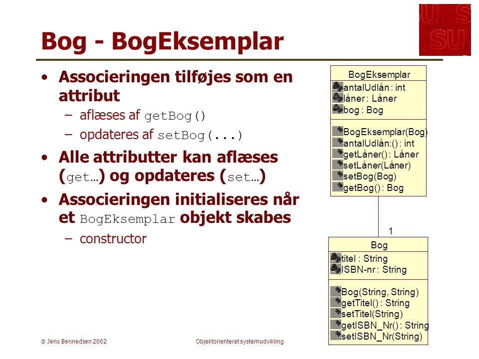  Jens Bennedsen 2002Objektorienteret systemudvikling Bog - BogEksemplar Associeringen tilføjes som en attribut –aflæses af getBog() –opdateres af setBog(...) Alle attributter kan aflæses ( get… ) og opdateres ( set… ) Associeringen initialiseres når et BogEksemplar objekt skabes –constructor Bog titel : String ISBN-nr : String Bog(String, String) getTitel() : String setTitel(String) getISBN_Nr() : String setISBN_Nr(String) BogEksemplar antalUdlån : int låner : Låner bog : Bog BogEksemplar(Bog) antalUdlån:() : int getLåner() : Låner setLåner(Låner) setBog(Bog) getBog() : Bog 1