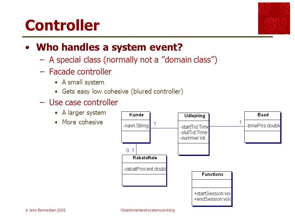  Jens Bennedsen 2002Objektorienteret systemudvikling Controller Who handles a system event.