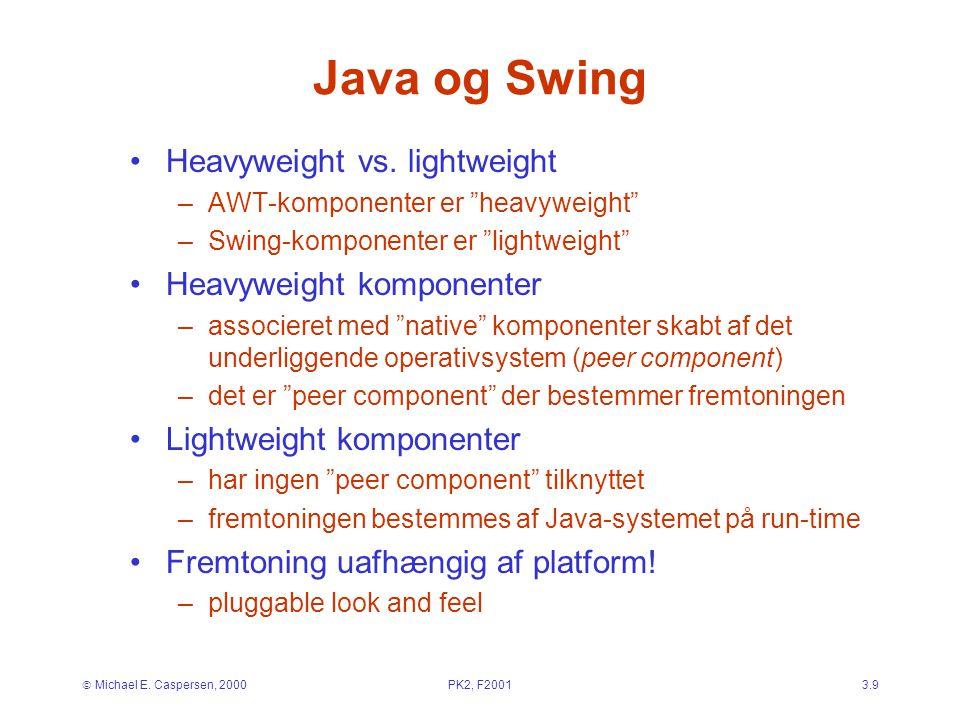  Michael E. Caspersen, 2000PK2, F20013.9 Java og Swing Heavyweight vs.