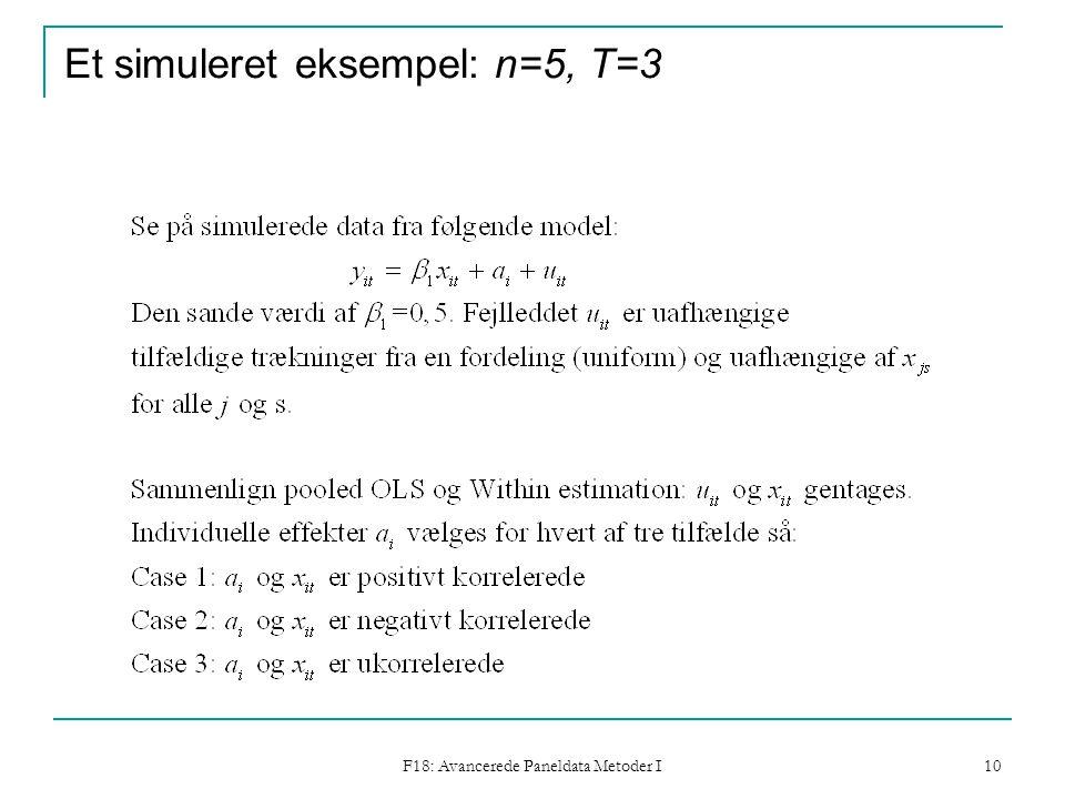 F18: Avancerede Paneldata Metoder I 10 Et simuleret eksempel: n=5, T=3