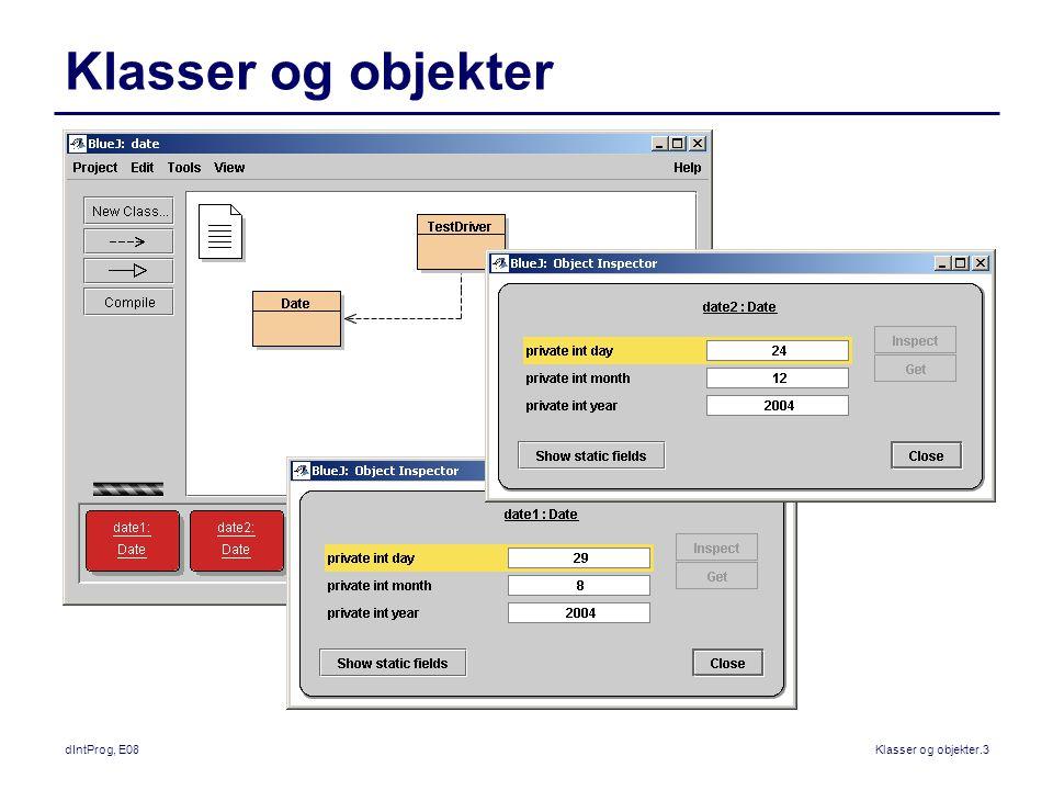 dIntProg, E08Klasser og objekter.3 Klasser og objekter