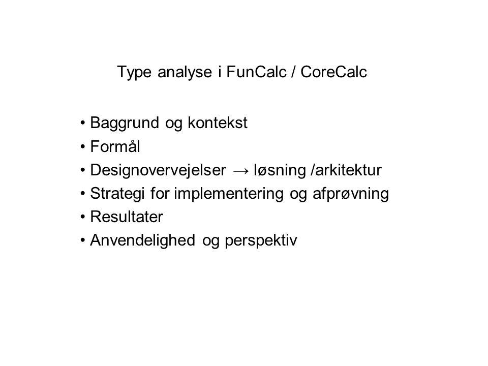 Type analyse i FunCalc / CoreCalc Baggrund og kontekst Formål Designovervejelser → løsning /arkitektur Strategi for implementering og afprøvning Resultater Anvendelighed og perspektiv