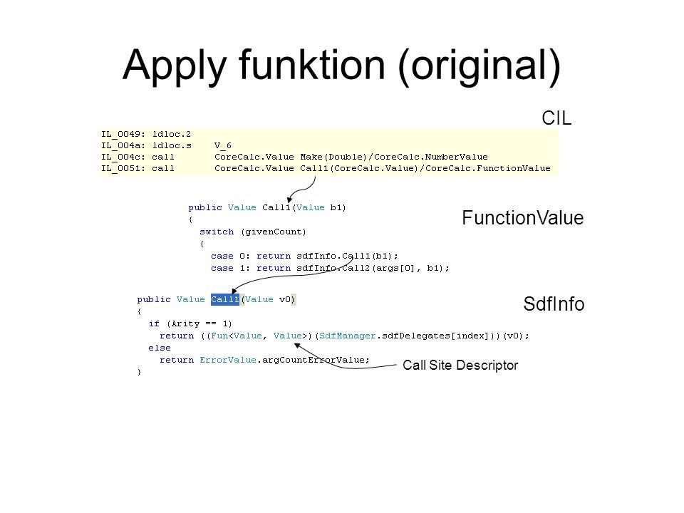 Apply funktion (original) CIL FunctionValue SdfInfo Call Site Descriptor