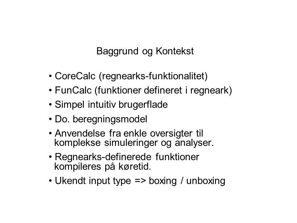 Baggrund og Kontekst CoreCalc (regnearks-funktionalitet) FunCalc (funktioner defineret i regneark) Simpel intuitiv brugerflade Do.