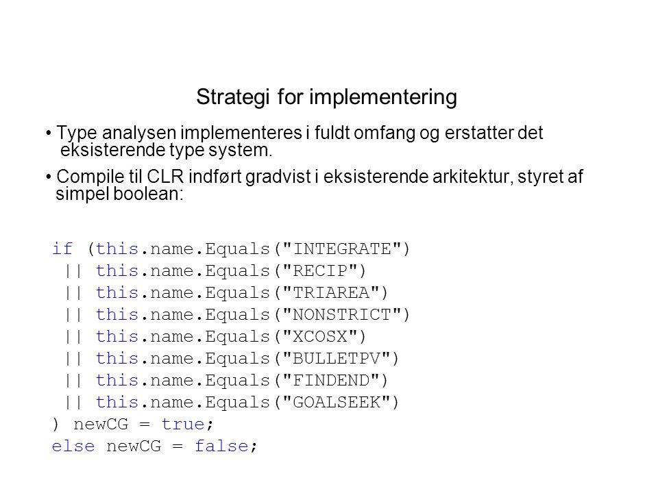 Strategi for implementering Type analysen implementeres i fuldt omfang og erstatter det eksisterende type system.