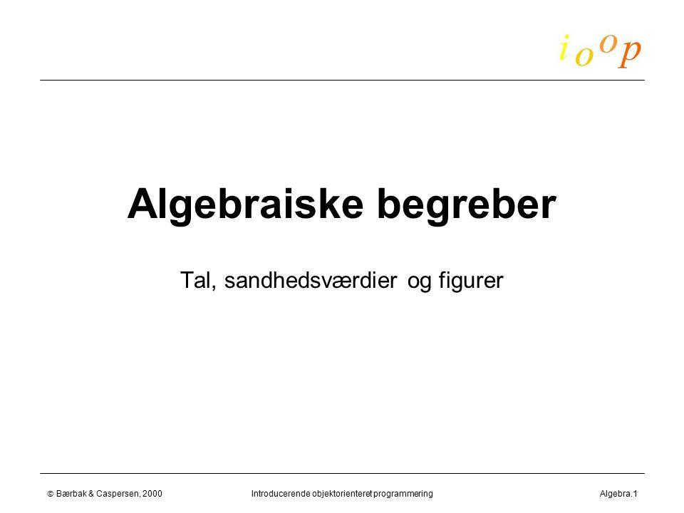  Bærbak & Caspersen, 2000Introducerende objektorienteret programmeringAlgebra.1 Algebraiske begreber Tal, sandhedsværdier og figurer
