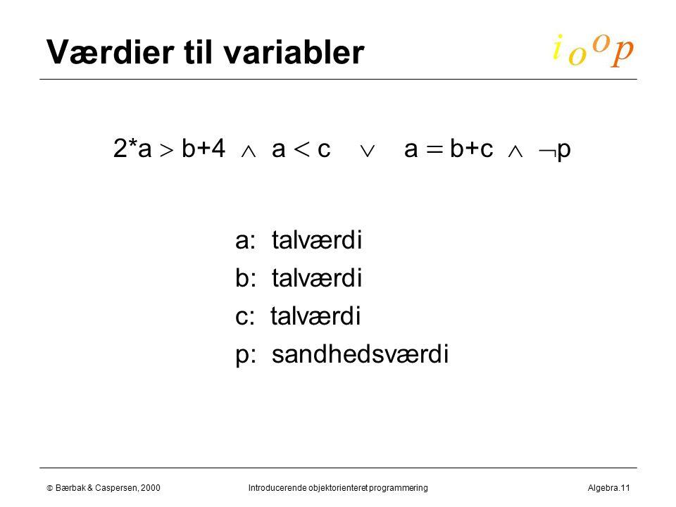  Bærbak & Caspersen, 2000Introducerende objektorienteret programmeringAlgebra.11 Værdier til variabler  2*a  b+4  a  c  a  b+c   p  a: talværdi  b: talværdi  c: talværdi  p: sandhedsværdi