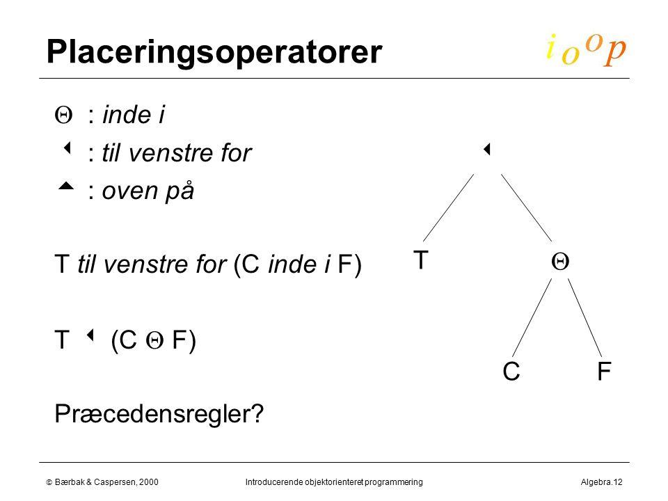  Bærbak & Caspersen, 2000Introducerende objektorienteret programmeringAlgebra.12 Placeringsoperatorer  : inde i   : til venstre for   : oven på  T til venstre for (C inde i F)  T  (C  F)  Præcedensregler.