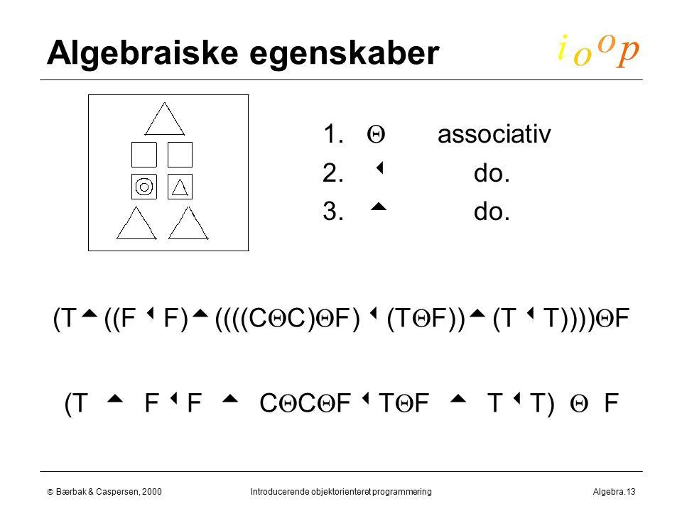  Bærbak & Caspersen, 2000Introducerende objektorienteret programmeringAlgebra.13 Algebraiske egenskaber  1.