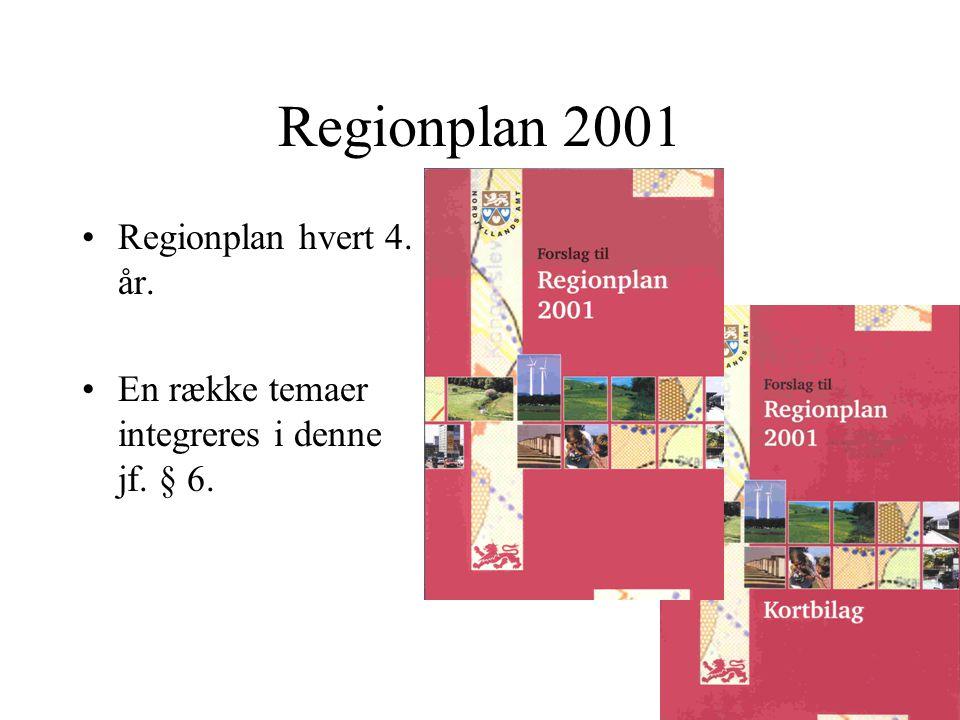 Regionplan 2001 Regionplan hvert 4. år. En række temaer integreres i denne jf. § 6.