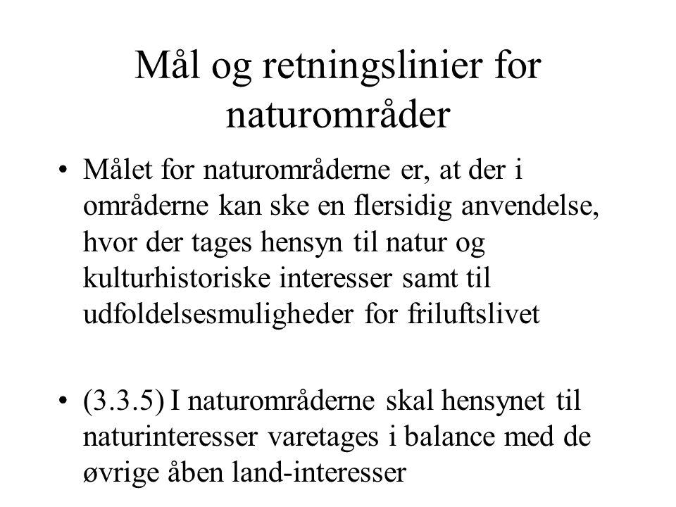 Mål og retningslinier for naturområder Målet for naturområderne er, at der i områderne kan ske en flersidig anvendelse, hvor der tages hensyn til natur og kulturhistoriske interesser samt til udfoldelsesmuligheder for friluftslivet (3.3.5) I naturområderne skal hensynet til naturinteresser varetages i balance med de øvrige åben land-interesser