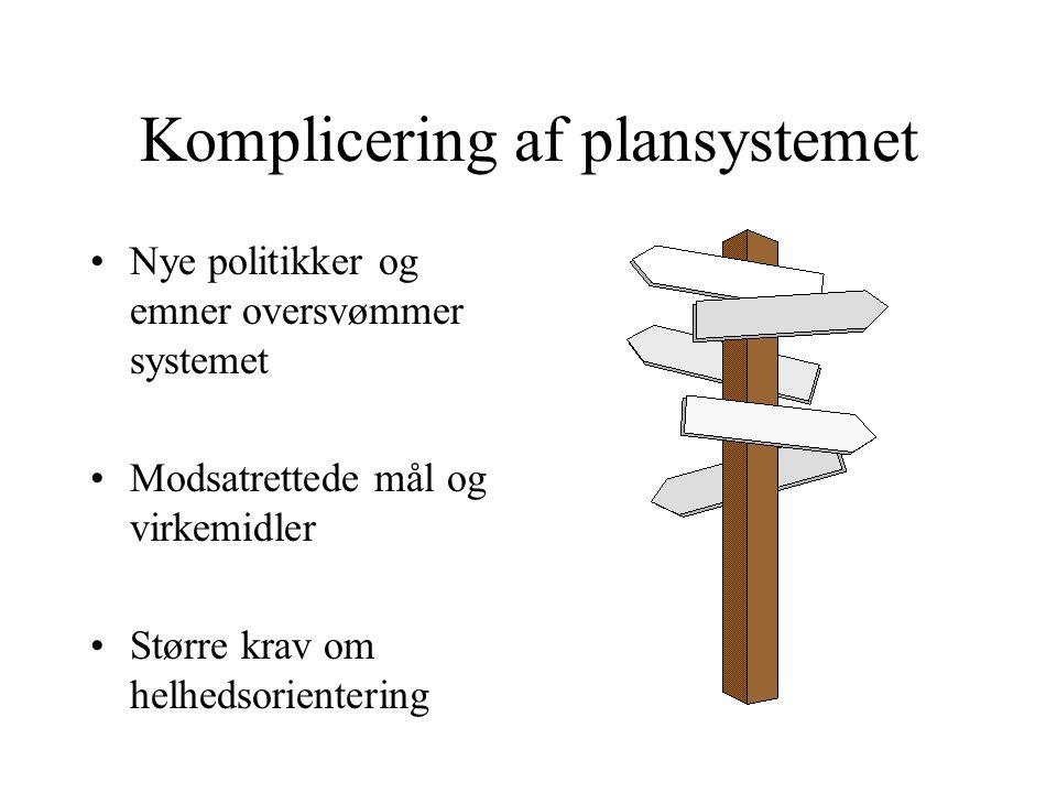 Komplicering af plansystemet Nye politikker og emner oversvømmer systemet Modsatrettede mål og virkemidler Større krav om helhedsorientering