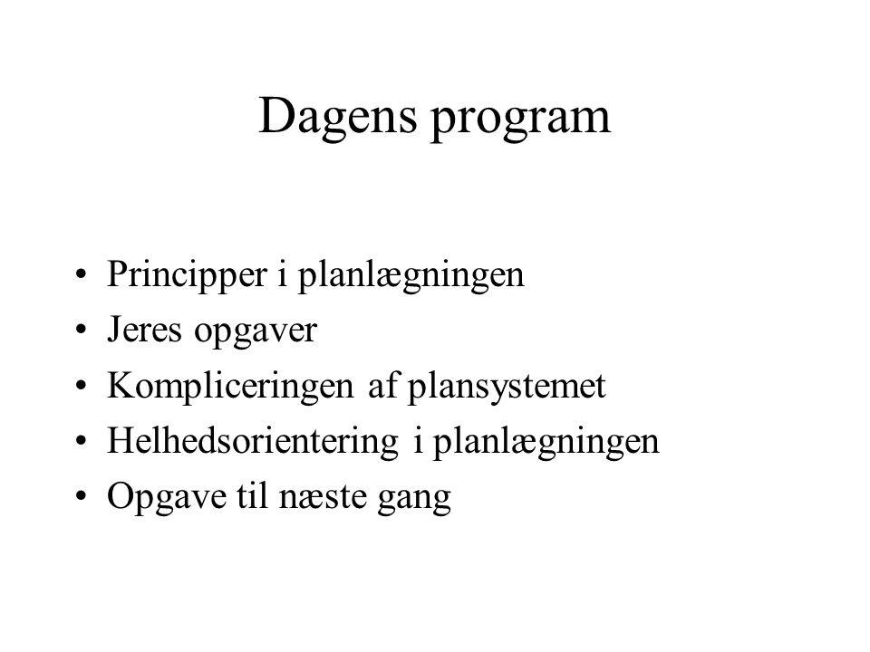 Dagens program Principper i planlægningen Jeres opgaver Kompliceringen af plansystemet Helhedsorientering i planlægningen Opgave til næste gang