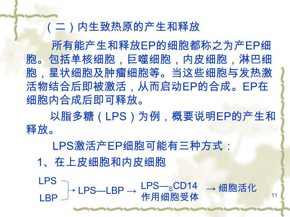 11 (二)内生致热原的产生和释放 所有能产生和释放 EP 的细胞都称之为产 EP 细 胞。包括单核细胞,巨噬细胞,内皮细胞,淋巴细 胞,星状细胞及肿瘤细胞等。当这些细胞与发热激 活物结合后即被激活,从而启动 EP 的合成。 EP 在 细胞内合成后即可释放。 以脂多糖( LPS )为例,概要说明 EP 的产生和 释放。 LPS 激活产 EP 细胞可能有三种方式: 1 、在上皮细胞和内皮细胞 LPS LBP LPS—LBP → LPS— S CD14 作用细胞受体 → 细胞活化