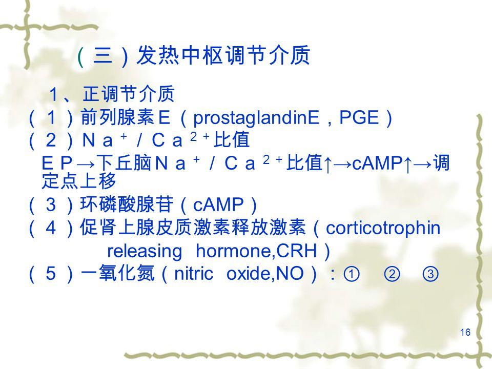 16 (三)发热中枢调节介质 1、正调节介质 (1)前列腺素E( prostaglandinE , PGE ) (2)Na + /Ca 2+ 比值 EP → 下丘脑Na + /Ca 2+ 比值 ↑→cAMP↑→ 调 定点上移 (3)环磷酸腺苷( cAMP ) (4)促肾上腺皮质激素释放激素( corticotrophin releasing hormone,CRH ) (5)一氧化氮( nitric oxide,NO ):① ② ③ 6-16